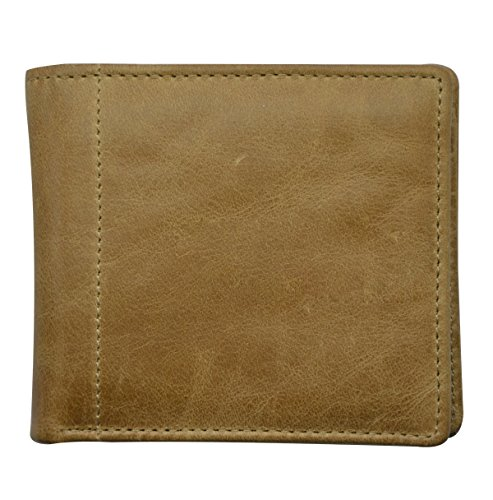 RFID Blocking Leather Wallet Men's RFID Security Wallet Genuine Leather Wallet RFID Blocking Leather Bifold Wallet Center Flip ID Window With Many Card Holder(Brown)