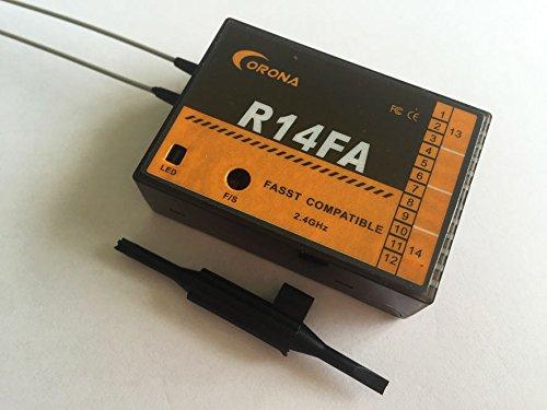 SAUJNN R14FA FASST Compatible 2.4Ghz 14Ch Receiver for FUTABA Transmitter 12FG