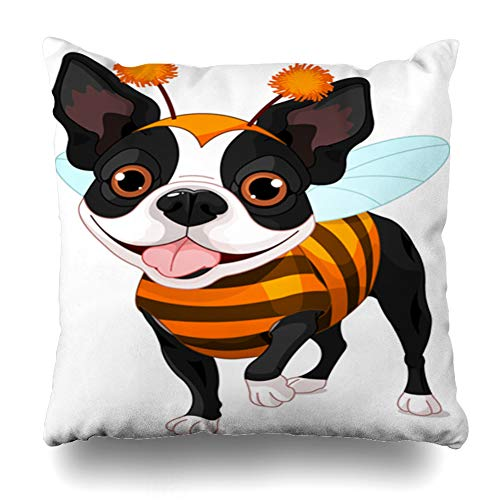 Kutita Decorativepillows Covers 16 x 16 inch Throw Pillow Covers, Like Bee Halloween Dog Animals Art Black Cartoon Cute Pattern Double-Sided Decorative Home Decor -
