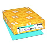 """Wausau Paper 22721 Astrobrights Colored Cardstock, 8.5"""" x 11"""", 65 lb / 176 gsm, Lunar Blue, 250 Sheets"""