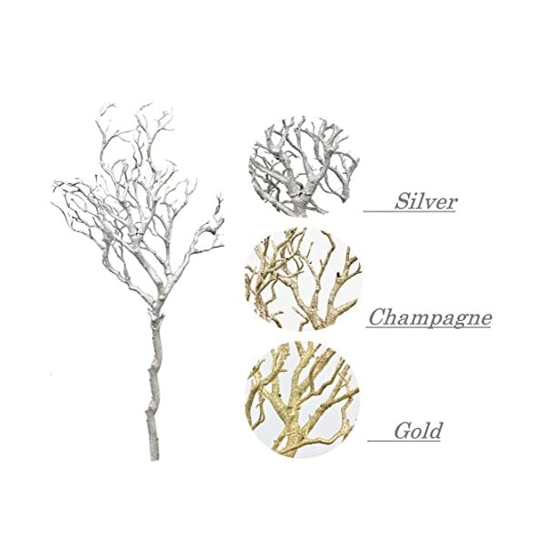 Angel Isabella Set of 2: 33″ Glittered Metallic Artificial Manzanita Twig Tree Branch Perfect for Christmas Centerpiece Wonderland Wedding Decorations,Silver Gold or Champagne Colors (Gold)