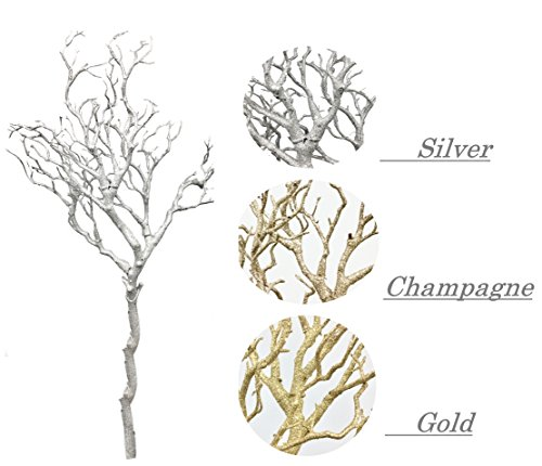 "Set of 2: 33"" glittered Metallic artificial Manzanita Twig Tree Branch perfect for Christmas Centerpiece Wonderland wedding decorations,Silver Gold or Champagne colors (Champagne)"