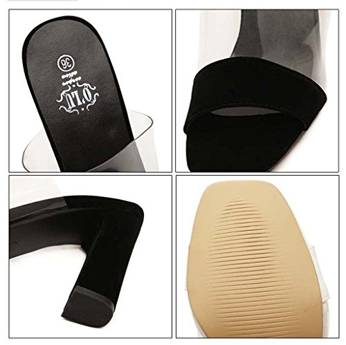 SHEO sandalias de tacón alto Sra. De espesor con una plataforma impermeable con sandalias de tacón alto de tacón alto Negro