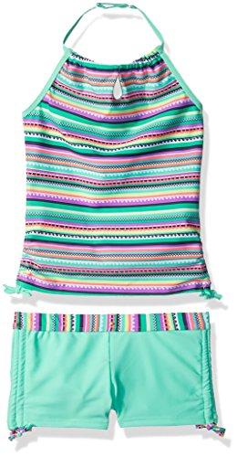 Tankini Girls (Free Country Girls' Big Crochet Print Halter Tankini Set, Mint, 14)