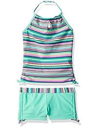Girls' Crochet Print Halter Tankini Set