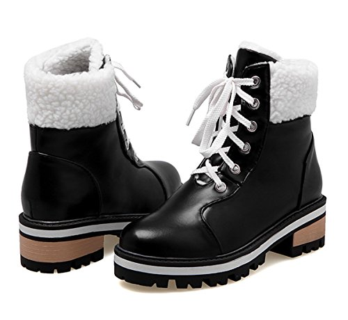 YE Women's Mid Heel Lace up Block Heel Ankle Boots with Fur Black huaWewR