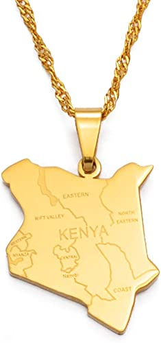 Map Of Kenya & City Name Pendant Necklaces Jewellery Gold Color African Country Map Jewelry Kenyans Map Kenyan | Amazon.com