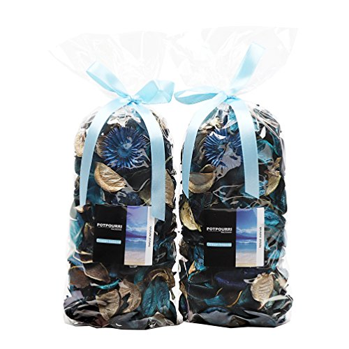 Qingbei Rina Gifts.Ocean Scent Fresh Potpourri Bag,Perfume Satchel,Bowl and Vase Decorate Fragrance.2 Bags.8.4OZ. (Turquoise) ()