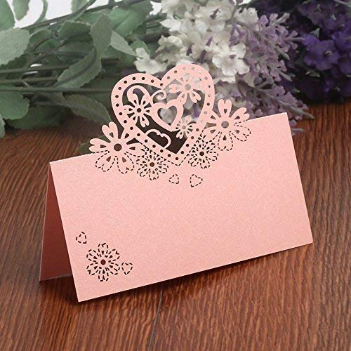 (50PCS Wedding Guest Name Place Cards Party Table Name Place Cards Paper Table Numbers Place Card Escort Name Card Laser Cut Design for Wedding Party Decoration Favor (Pink-Heart))