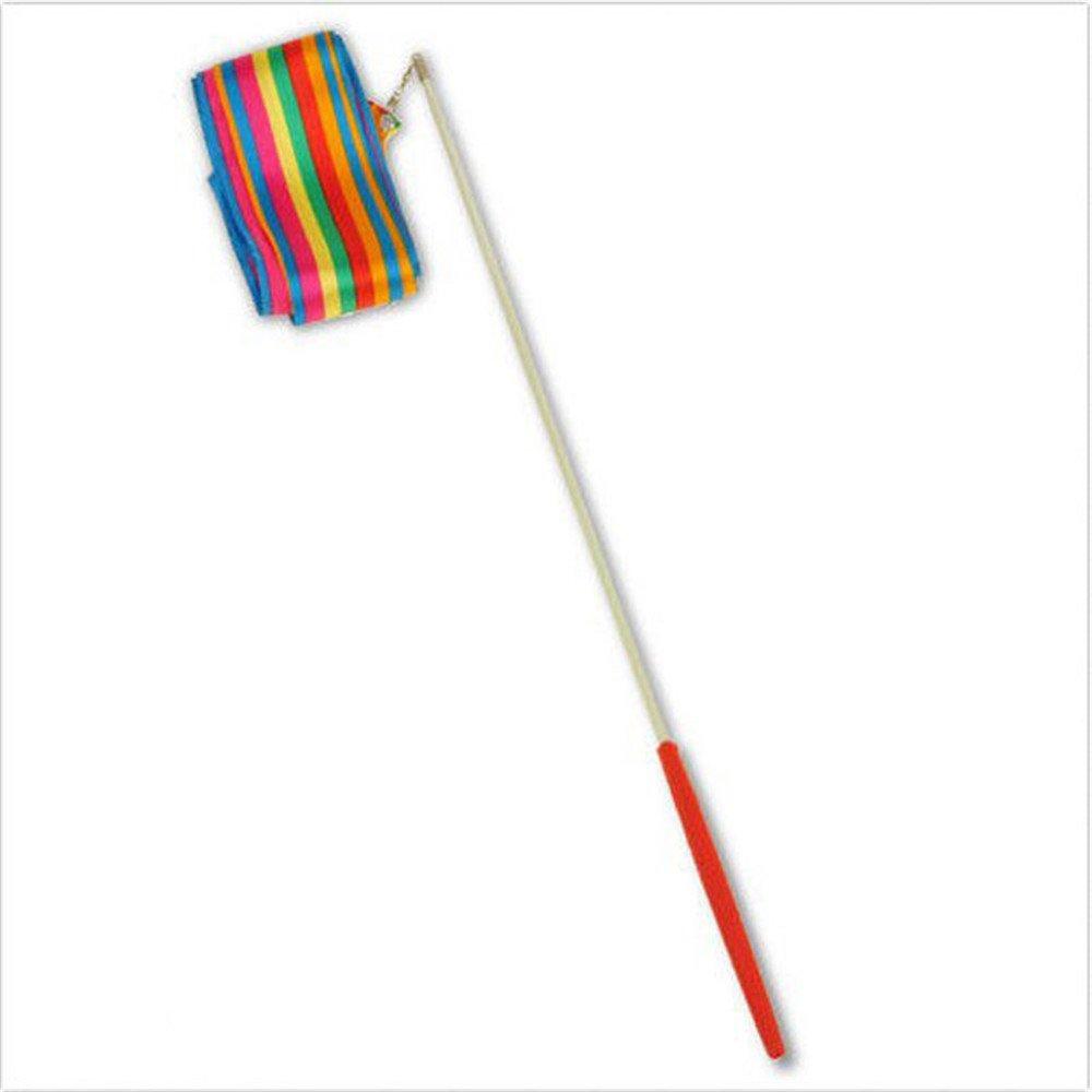 EOPER Set of 2 150Inch Gymnastics Rhythmic Color Ribbon with Stick Dance Streamers,Rainbow