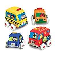 Melissa & Doug Pull-Back Vehicles, Soft Baby and Toddler Toy Set (4 autos y camionetas y estuche de transporte)