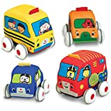 "Melissa & Doug Pull-Back Vehicles, Soft Baby and Toddler Toy Set, 4 Cars and Trucks and Carrying Case, 8.75"" H x 11.75"" W x 4.75"" L"