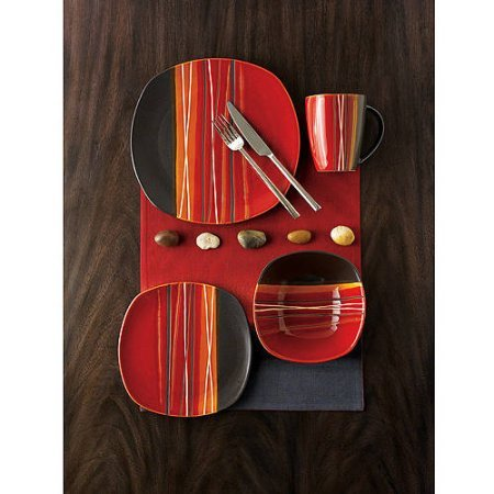Better Homes and Gardens Bazaar Red 16-Piece Dinnerware Set