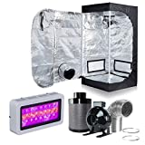 Hongruilite 300w/600w LED Grow Light+Multi-sized Grow Tent+4' Inline Fan Carbon Air Filter Ducting Combo for Hydroponic Indoor Plant Growing System (300W LED+24''X24''X48''Grow Tent(T)+4''Filter Kit)