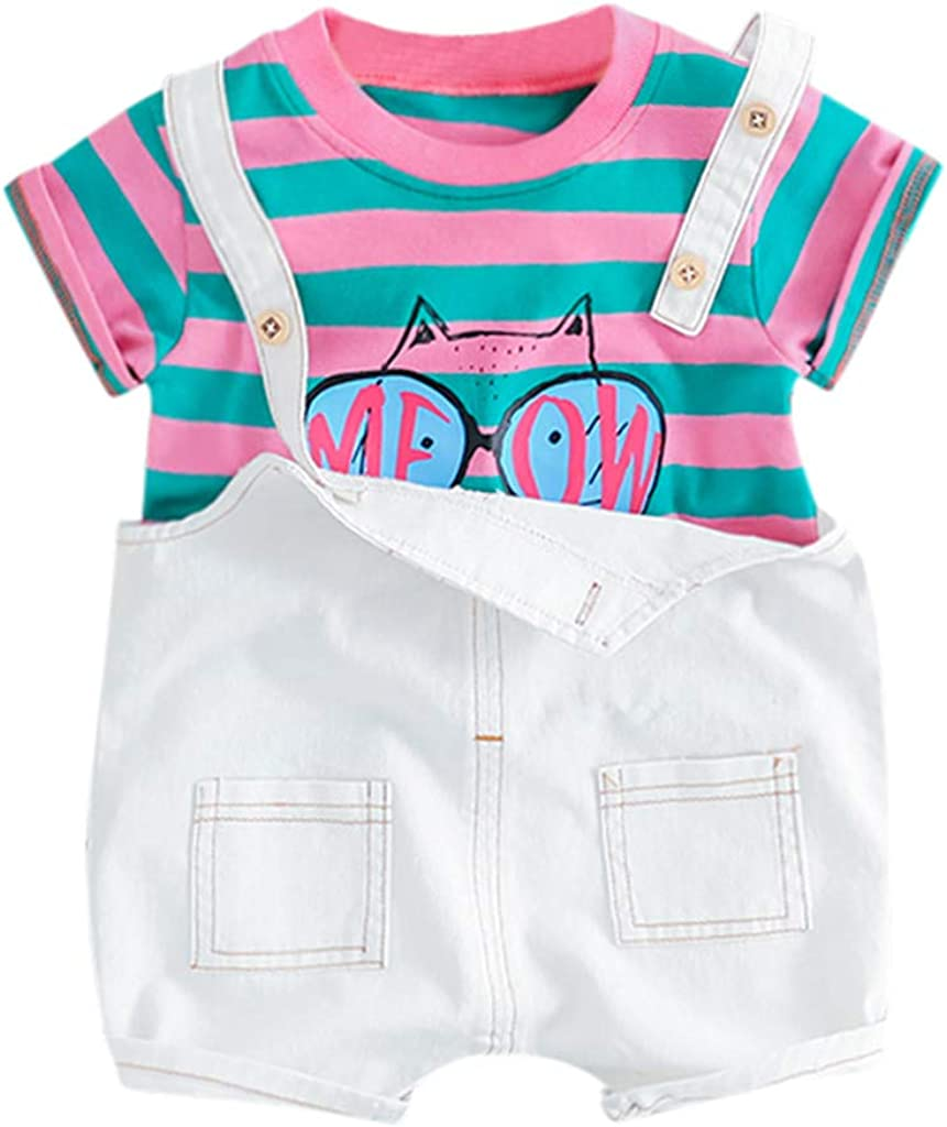 DFVVR Toddler Baby Kids Boys Girls Stripe Cat Tops Overall Pants Casual Outfits Set