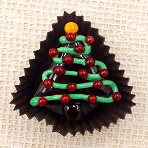 (Triangle Christmas Tree Handmade Art Glass Chocolate Gift Sculpture Figurine Home Décor (Lampwork))