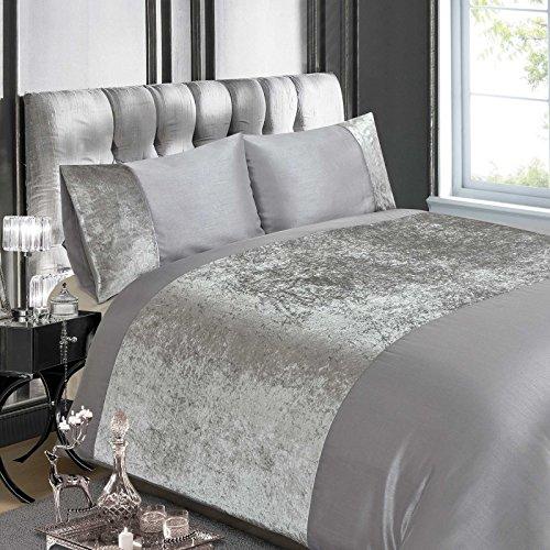 Price comparison product image Luxury Crushed Velvet Panel King Duvet Cover Set
