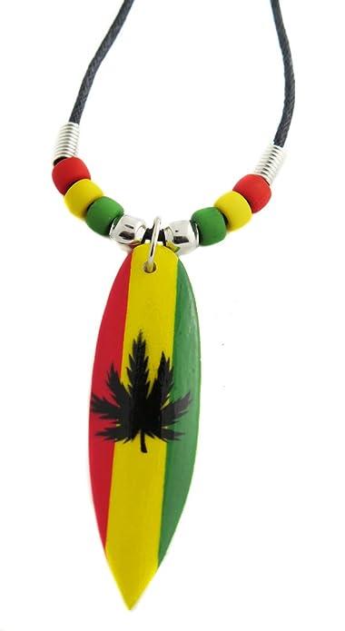 Collar para mujer para hombre, diseño De tabla De Surf cannabis surfista rasta Jamaica reggae sido playa: Amazon.es: Joyería