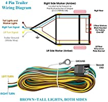 Suzco 25 Foot 4 Wire 4 Flat Trailer Light Wiring Harness Extension Kit 4 Way Plug 4 Pin Male Female Extension Connector Wishbone Style With 18 Gauge White Ground Wire With Sae J1128