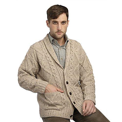 100% Irish Merino Wool Aran Button Cardigan,Oatmeal Extra Large