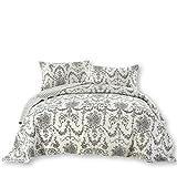 DaDa Bedding Damask Victorian Candelabra - Elegant Jacquard Coverlet Bedspread Set - Bright Vibrant Floral Black & White - King - 3-Pieces