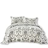 DaDa Bedding Damask Victorian Candelabra - Elegant Jacquard Coverlet Bedspread Set - Bright Vibrant Floral Black & White - Twin - 2-Pieces.