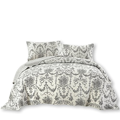 (DaDa Bedding Damask Victorian Candelabra - Elegant Jacquard Coverlet Bedspread Set - Bright Vibrant Floral Black & White - King - 3-Pieces)