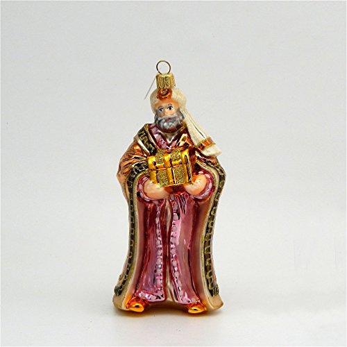 Wiseman With Gift - Orange Brown Cloak - Polish Glass Christmas ()