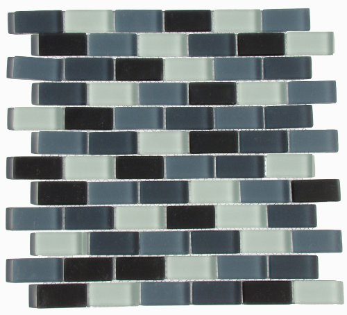Interceramic Mosaic - Interceramic INSBM1X2SHACT Shimmer Blends Mosaic Glass Tile, 1-by-2-Inch Tile on a 12-by-12-Inch Mosaic Mesh, Shadow Matte, 11-Pack
