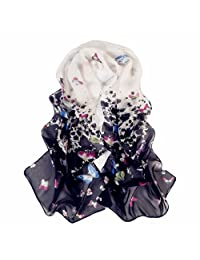 Reversible Butterfly Pattern Sheer Voile Shawl 160*50CM Women Scarf for Clothes Decorating (Black)
