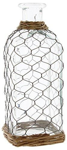 "Lucky Winner Primitive Metal Wire-Wrapped Decorative Jar, 12"""