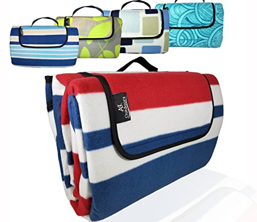 (XXLarge Premium 3-Layer Most Durable Outdoor Blanket/Picnic Blanket - Waterproof with Cozy Polar Fleece Top| 80