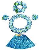 30cm blue grass skirt with flowers bracelets headband necklace Hula set