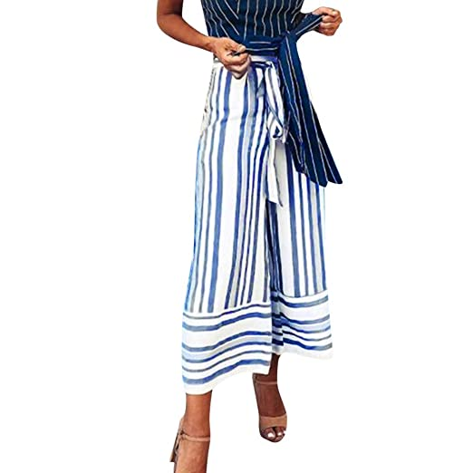 01be5140e58 Elogoog Hot Sale 2018 Women s High Waisted Wide Leg Striped Tie Waist Casual  Palazzo Pants Cropped