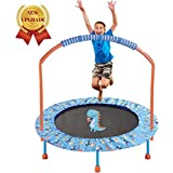 """LBLA 38"""" Mini Trampoline for Kids 3-10 Adjustable Handrail and Safety Padded Cover Foldable Bungee Rebounder Portable Kids Trampolines Exercise Indoor/Outdoor"""