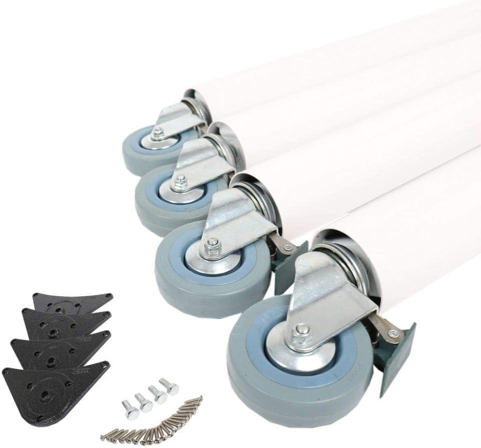 blanc Lot de 4 pieds de table /à roulettes Avec freins Couleurs vari/ées 870 x /Ø 60 mm