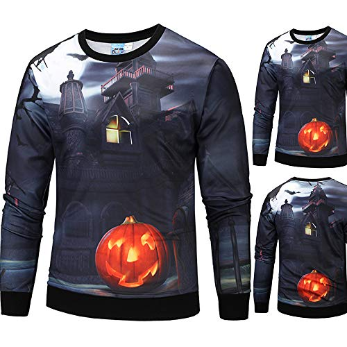 Price comparison product image Sale! Teresamoon Mens Casual Scary Halloween Pumpkin 3D Print Party Long Sleeve Hoodie Top Blouse