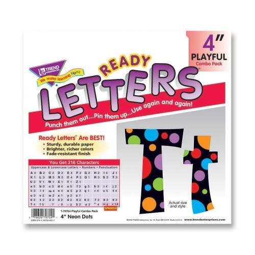 """79754 Trend Ready Letters with Neon Dots - 83 Lowercase Letters, 20 Numbers, 36 Punctuation Marks, 59 Uppercase Letters, 18 Spanish Accent Mark - 4"""" - Assorted - 1 / Pack"""