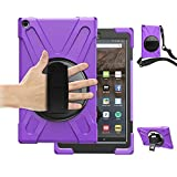 Fire HD 10 Tablet Case 2017 with Strap,TSQ Hybrid Drop Protection Durable Silicon Rugged Protective Case with 360 Degree Rotating Stand/Hand Strap+Shoulder Belt for Amazon Kindle Fire HD 10,Purple
