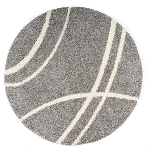 Rugshop Cozy Contemporary Stripe Indoor Shag Round Area Rug 6' 6