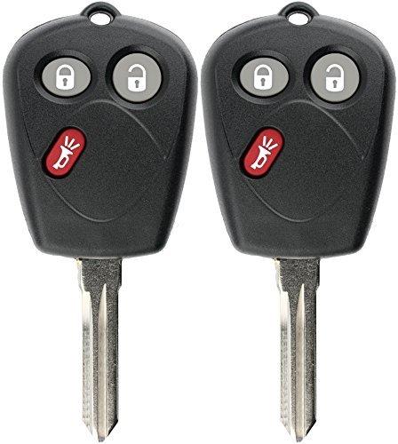 KeylessOption Keyless Entry Remote Car Key Fob Blank Uncut Chip Ignition for Saab 9-7X (Pack of 2) [並行輸入品] B0784LB29B