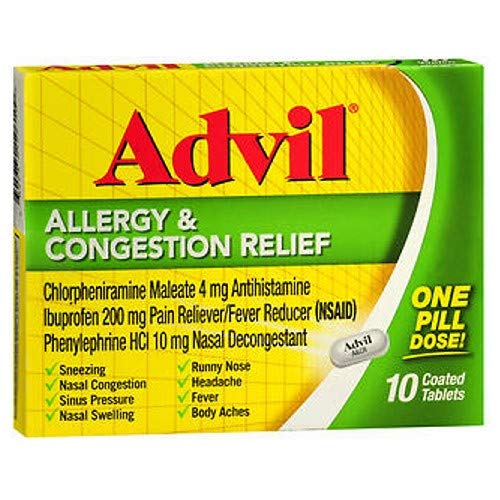 Advil Allergy & Congestion Relief Tablets 10 ea (Pack of 3)