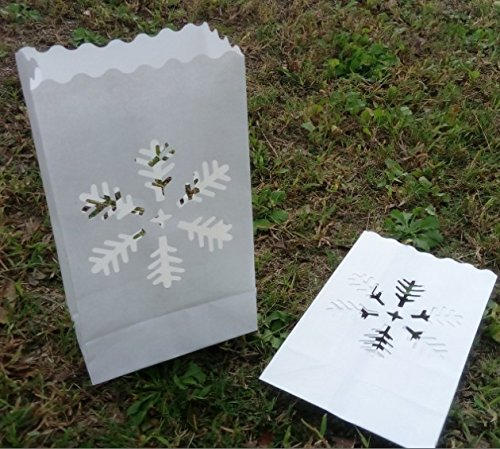Fascola White Luminary Bags - 10 Count - Snowflake Design - Flame Resistant Paper - Christmas Holiday Outdoor Decorations - Party and Event Decor - Luminaria Candle Bag - Ten Bags by Fascola