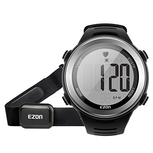 Digital Heart Rate Monitor Watch (EZON HRM Tech Chest Strap Digital Watch Heart Rate Monitor Watch with Alarm Hourly Chime Stopwatch, Large Display for Men Black T007A11)
