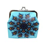 Pocciol Women Girls Coin Purse Printing Flower Snacks Wallet Bag Change Pouch Mini Key Holder (Blue)