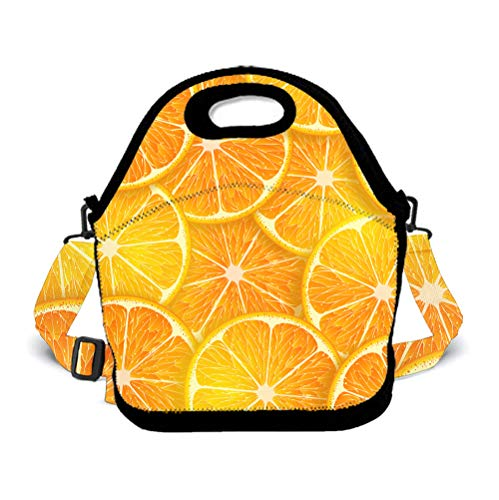 POP MKYTH Insulated Lunch Box - Cartoon Cute Orange Lemon - Water-Resistant Lunch Bag with 3D Shoulder Strap for School/Picnic/Camping, for Men Women Boys Girls Kids -