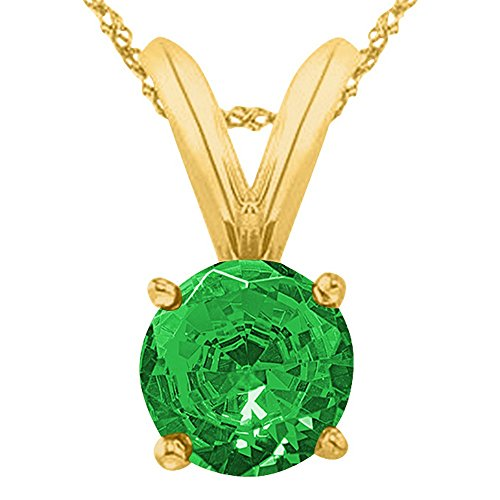 1 1/2 1.5 Carat 14K Yellow Gold Round Emerald 4 Prong Solitaire Pendant Necklace (AAA Quality) W/ 16