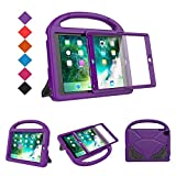 BMOUO Case for New iPad 9.7 2018/2017 with Built-in Screen Protector, Shockproof Lightweight Handle Stand Kids Case for Apple iPad 9.7 Inch 2018/2017/iPad Air/iPad Air 2/iPad Pro, Purple