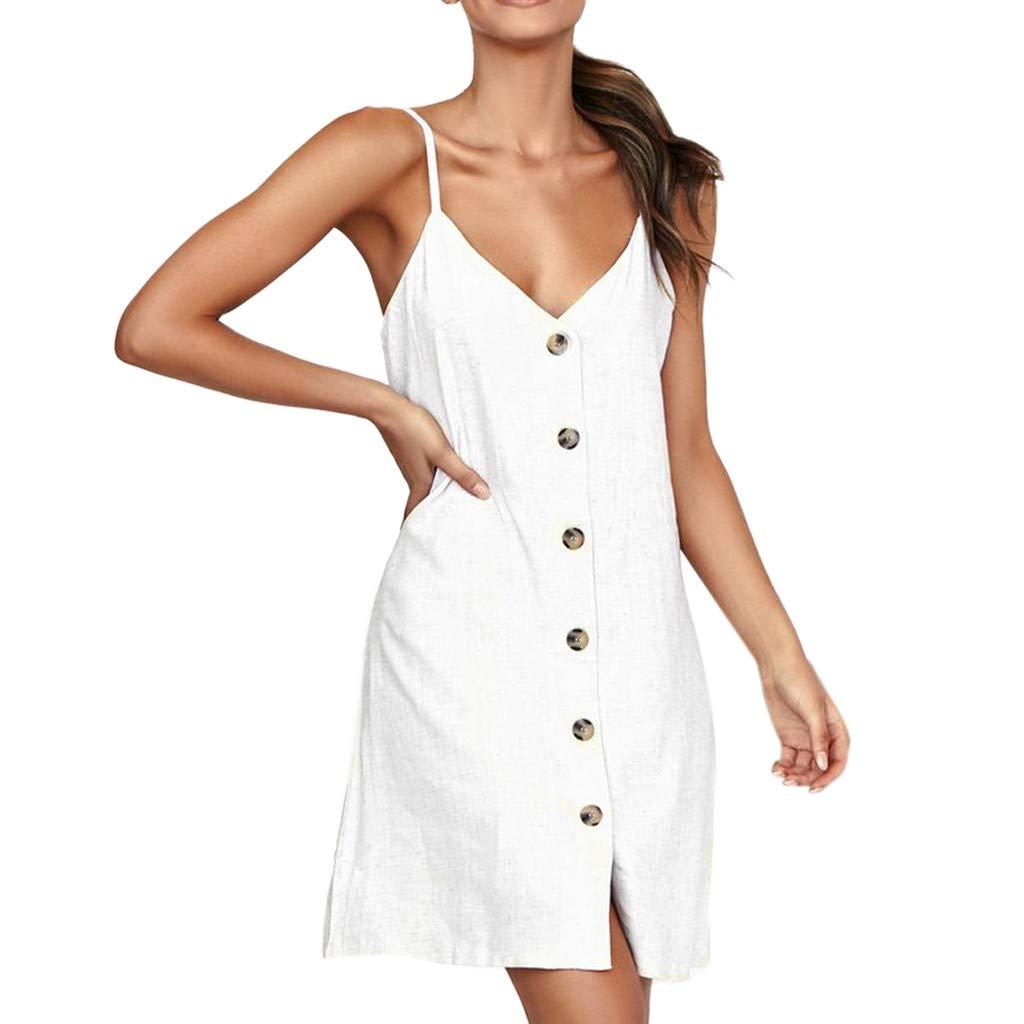 Suma-ma Womens Strap V-neck Button Dress Fashion Solid Color Casual Mini Dress