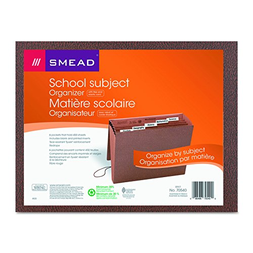 Smead Subject File, 6 Pockets, Flap and Elastic Cord Closure, Letter Size, Redrope-Printed Stock (70540)